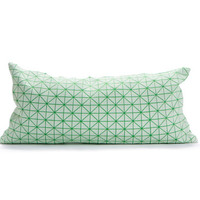 Green white pillow, geometric cushion cover 30x60 cm, Printed origami cushion Home decor accessory