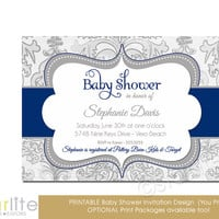 Navy Gray Shimmer - Baby Shower Invitation, navy blue Grey - baby boy, vintage style, distressed chic - Printable Invitation, You Print