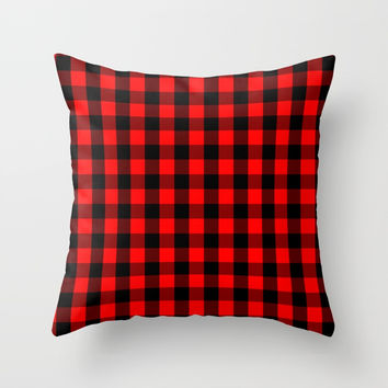 Classic Red and Black Buffalo Check Plaid Tartan Throw Pillow by podartist
