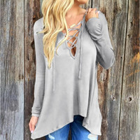 Hollow out Strappy Lace Up Causal Long Sleeve Shirt
