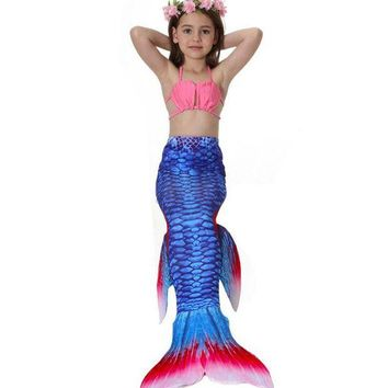 DCCKH6B Fashion 13 Colors Baby Girls Mermaid Tail Cosplay Children Swimsuit Swimwear Mermaid Bikini Set Girls Costume