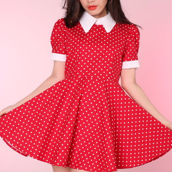 Glitters For Dinner — Made To Order - Red Polka Dot Alice Dress