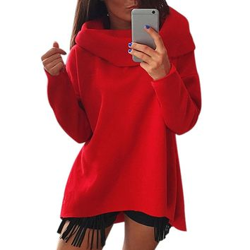 Women Autumn Winter Long Sleeve Pullover Loose High Neck Casual