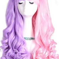 L-email Long Lolita Ponytails Wavy Cosplay Wig Pink Split Purple C22D