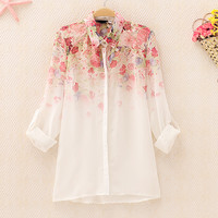 Ombre Flower Pattern Slim Chiffon Shirt