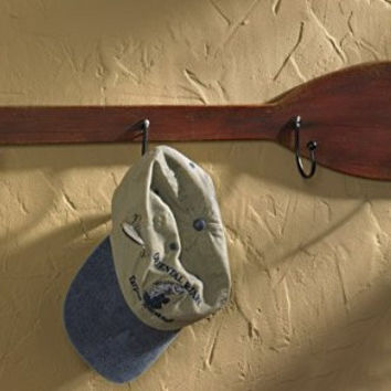 Cabin Lodge Lake Beach Style Distressed Paddle Oar Coat Hanger Hook Board- 4 Hooks (Distressed Cabin Brown)