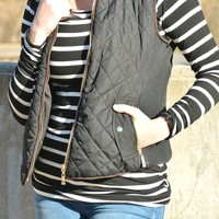 Warm Up Quilted Vest - Black