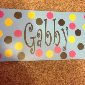 Personalized hand painted wall hanger, customized wall hanger, babys room wall hanger, baby room, dorm room, customize for home