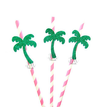 25 Hot Pink Stripe Paper Straws with Glitter Palm Tree - tropical straws, tropical straws, wedding, engagement, birthday, tropical party