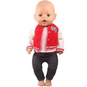 Family Friends party Board game Baby Born Doll Clothes Bowling red Jacket Pink Vest Jean Pants Outfits Fit 43cm Baby Born zapf doll Toys For Children AT_41_3