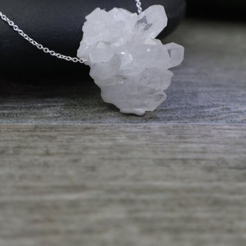 Raw Crystal Necklace, Mini Quartz Cluster, Chakra Stone Pendant, Understated Jewelry, Simple Zen Style, Sterling Silver, Subtle Statement