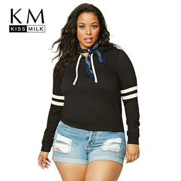 Kissmilk Plus Size Fashion Women sweatshirts Basic Preppy Style Contrast Tops Long Sleeve Big Size Hoodies 3XL 4XL 5XL 6XL