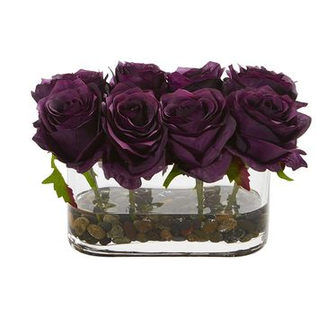Silk Flowers -5.5 Inch Blooming Purple Elegance Roses In Glass Vase