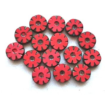 Six Czech glass flower, wheel or disc beads, table cut, carved, coral red silk glass picasso daisy beads, 12mm x 4mm, C02101
