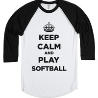 Keep Calm And Play Softball-Unisex White/Black T-Shirt