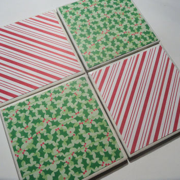 Christmas Candy Cane Stripes and Holly Ceramic Coasters - set of 4