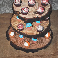 "Cup Cake Stand beautiful White Pine rustic Cupcake Stand, 3 tier 12"", 11"", 10"" tiers rustic wedding"