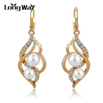 LongWay Wedding Charm Earrings For Women With simulated Pearl Drop Earring Gold color Dangle Earrings Jewelry Gift SER140229