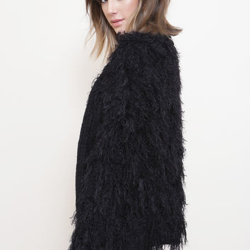 Black Shaggy Fur Cardigan