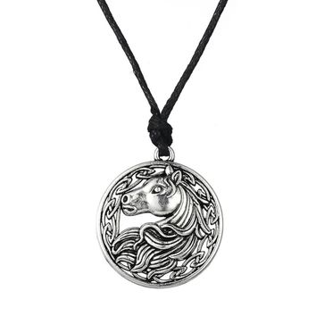 Vintage Inspired Rope Chain round horse pendant necklace - horse gifts for her