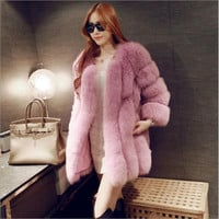 Women Brand Fur Coat Winter Women Long Faux Fox Fur Coats Furry Luxury Womens Fake Fur Jacket High Quality Faux Fur Coat Jacket