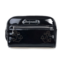 Black Textured Patent Betsy Anchor Makeup Bag