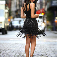Destiny Studded Fringe Black Bandage Dress