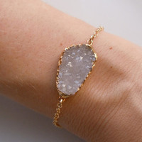 Druzy Bracelet in White by 443Jewelry on Etsy