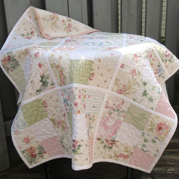 Reversible Lap Throw or Baby Crib Quilt, Pastel Floral Vintage Sheets