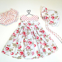 12 month baby dress spring outfit infant set baby bonnet baby outfit easter dress pink floral dress roses spring dress baby sunbonnet