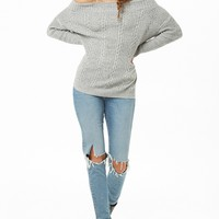 Off-the-Shoulder Cable-Knit Sweater