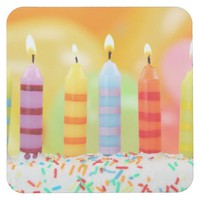 Birthday Candles Square Paper Coaster