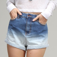 Simple Black High Waisted Denim Shorts