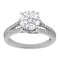 Engagement Ring - Round Diamond Pave Set Split Band Trellis Engagement Ring 0.42 tcw. In 14K White Gold - ES468