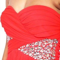 Strapless Long Prom Dress with Ruched Bodice and Stone Side Mobile
