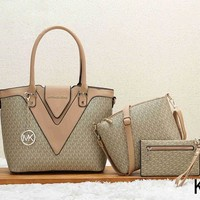 Michael Kors Women Leather Shoulder Bag Satchel Tote Handbag Crossbody Three Piece Set