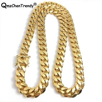 316L Stainless Steel Jewelry High Polished Cuban Link Necklace For Men Punk Curb Chain Dragon-Beard Clasp 61cm*15mm