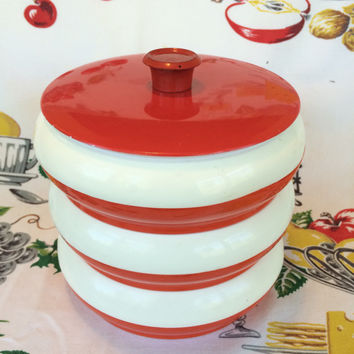 1960s Stacking Canisters Red and White Plastic Mid Century Mod Vintage Kitchen