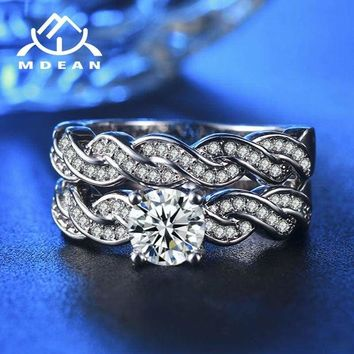 Infinity Cubic Zirconia Anniversary Promise Wedding Band Engagement Ring Bridal Set