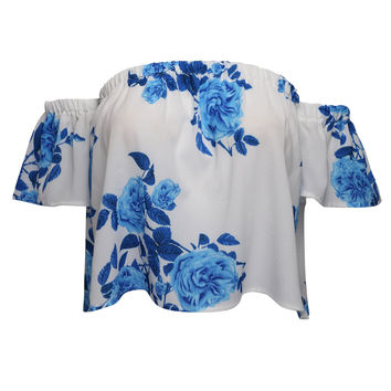 White Off Shoulder Rose Print Crop Top