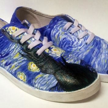 Hand Painted Canvas Shoes - Starry Night Van Gogh