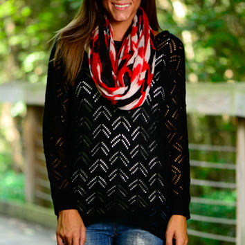 Chevron Illusion Sweater, Black