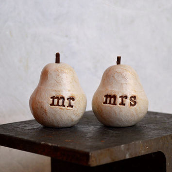 Wedding cake topper ... Pair of Pears... mr mrs ... perfect pair