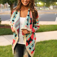 Printed Knitted Front Open Cardigan