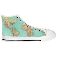 Map White Sole High Tops