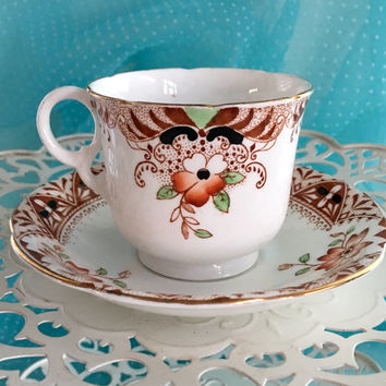 Vintage Tea Cup, Hand Painted Tea Cup and Saucer, Heathcote Imari 1950's China, China Teacup Set, Birthday Gift for Her