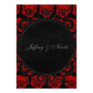Gothic Red Roses Victorian Wedding 5x7 Paper Invitation Card