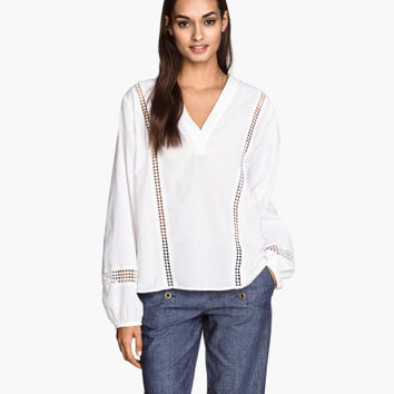V-neck Cotton Blouse - from H&M