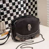 New Black Hobo Handbag Tote Purse Shoulder Bag Double Zipper PU Punk Skull A01