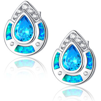 Sterling Silver Large Teardrop Blue Green Fire Opal and Blue CZ Stud Earrings